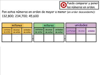 Grade 4 Math in Spanish - 4.NBT.2  Compare and Order Numbers