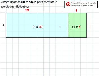 Grade 4 Math in Spanish - 4.NBT.5  Multiply Using the Distributive Property