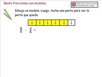 Grade 4 Math in Spanish  4.NF.3  Add Subtract Fractions with Common Denominators