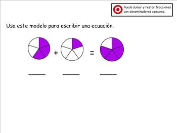Grade 4 Math in Spanish 4.NF.3.A-C  BUNDLE