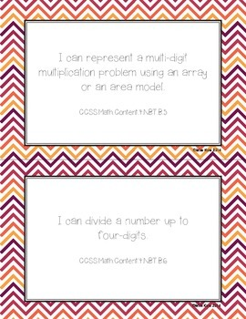 Grade 4 Mathematics Common Core I Can Statements