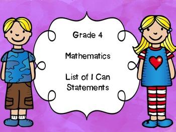 Grade 4 Mathematics I Can Statements List