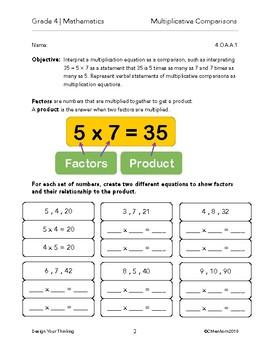 Grade 4 Mathematics - Multiplicative Comparisons Packet
