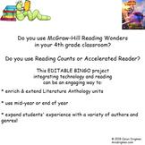Grade 4 McGraw-Hill Reading Wonders Authors RC or AR BINGO Project