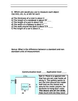 Grade 4 Measurement Test