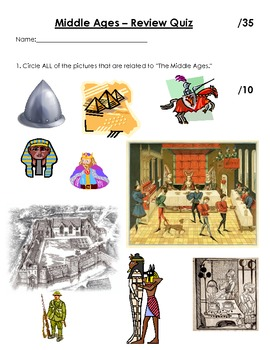 Grade 4 Middle Ages Review Quiz (PDF)