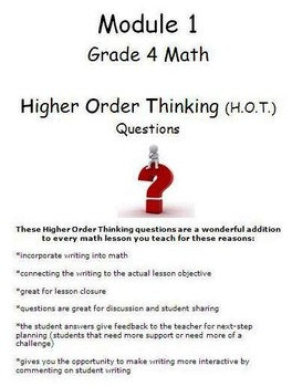 Grade 4 Module 1 Higher Order Thinking (HOT) Questions-writing prompts BUNDLE
