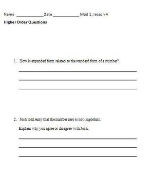 Grade 4 Math Module 1 Higher Order Thinking (HOT) Questions/Writing Prompts!