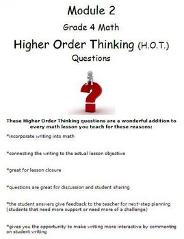 Grade 4 Module 2 Higher Order Thinking (HOT) Questions-writing prompts