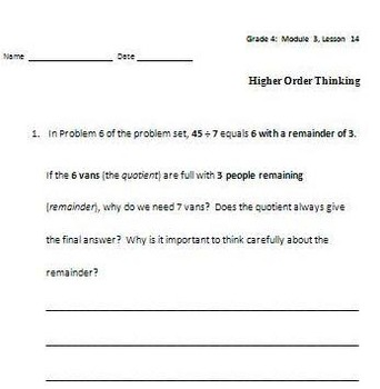 Grade 4 Math Module 3 Higher Order Thinking (HOT) Questions/Writing Prompts!