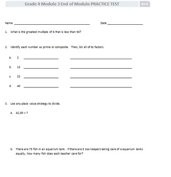 Grade 4 Module 3 End of  Module Practice Test: Eureka/ Engage NY