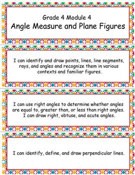 Grade 4 Module 4: Angle Measure and Plane Figures, LTT and VOCABULARY