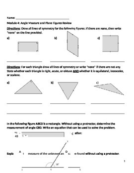 Grade 4: Module 4 Angle Measure and Plane Figures Review