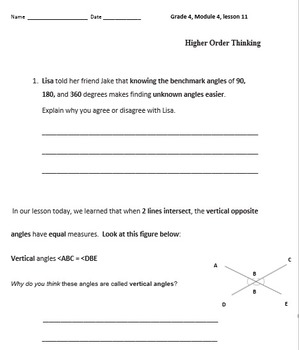 Grade 4 Math Module 4 Higher Order Thinking (HOT) Questions/Writing Prompts!