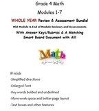 Grade 4 Modules 1-7 WHOLE YEAR Mid & End of Mod Reviews & Assessments & keys!