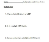 FREE-Grade 4 Multiplication and Division Review