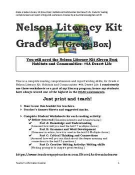Grade 4 Nelson Literacy Kit (Green Box): Habitats & Communities Bundle: 4A,5, 6