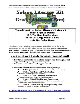 Grade 4 Nelson Literacy Kit (Green Box): Legends Bundle Series: 13, 13A, 14.