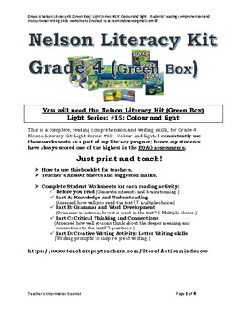 Grade 4 Nelson Literacy Kit (Green Box): Light Series Bundle: #16, 17 and 18.