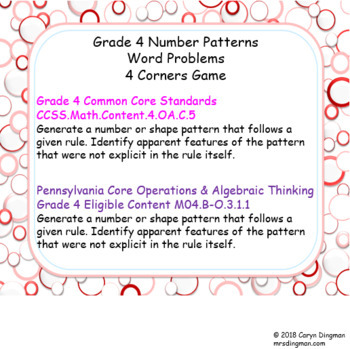 Grade 4 Number Patterns Word Problems 4 Corners Game