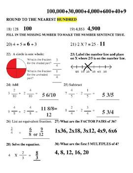 Grade 4 Number Sense Progress Monitoring