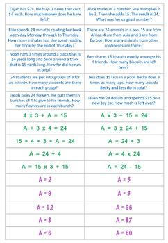 Grade 4 OA Matching Activity - Math Operations & Algebraic Thinking
