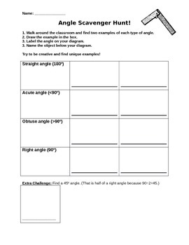 Grade 4 (Ontario Curriculum) Benchmark Angle Scavenger Hunt