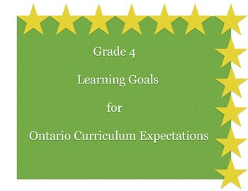 Grade 4 Learning Goals for Ontario Curriculum