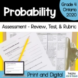 Grade 4 Ontario Math Probability Review, Task, Quiz, and Rubrics