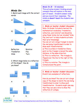 Grade 4 Ontario Math Three Part Lesson 5 Creating Patterns with Reflections