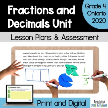 Grade 4 Ontario Math Three Part Lesson Fraction Complete Unit