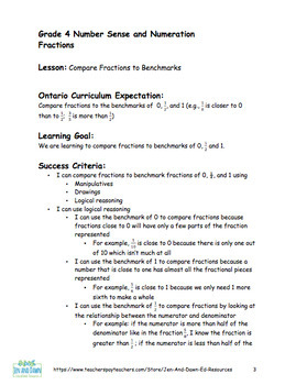 Grade 4 Ontario Math Three Part Lesson Fractions 6 - Comparing to Benchmarks