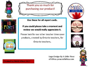 Grade 4  Math Parent Friendly Report Card Comments All Terms.