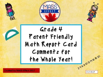 Grade 4  Math - Ontario Report Card Comments All Terms.