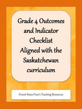 Grade 4  Outcome Indicators Teacher Checklist