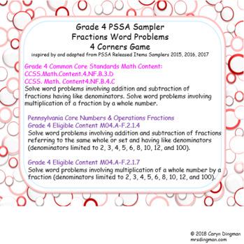 Grade 4 PSSA Sampler Fractions Word Problems 4 Corners Game