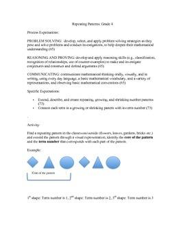Grade 4 Patterning Activity