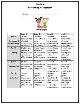 Grade 4 Patterning Assessment
