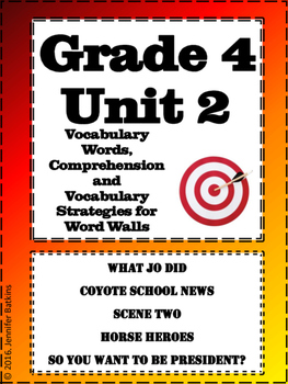 Grade 4 Unit 2 Reading Vocabulary Word Wall Words