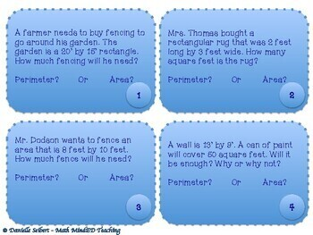 Grade 4 - Perimeter and Area Word Problems - Task Cards