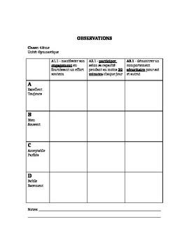 Grade 4 Phys Ed Unit Plans en francais