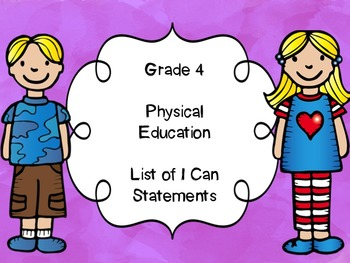 Grade 4 Physical Education I Can Statements List