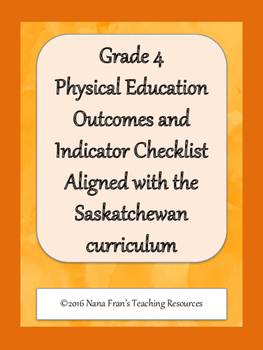 Grade 4 Physical Education Outcome Indicators Checklist