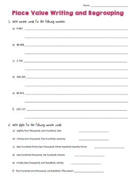 Grade 4 Place Value Assessment