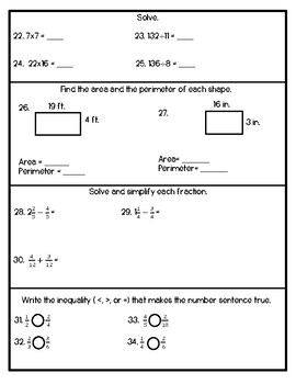 4th Grade Math Placement Test - Beginning and End of Year Test or Math Review