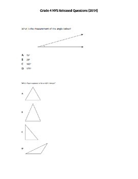 Grade 4 Released NYS Math Questions 2014