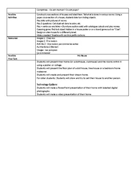 Grade 4 (SK Level 3) Core French My House Unit Overview