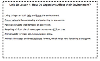 Grade 4 Science Fusion Unit 10 Fill in the Blank Worksheets