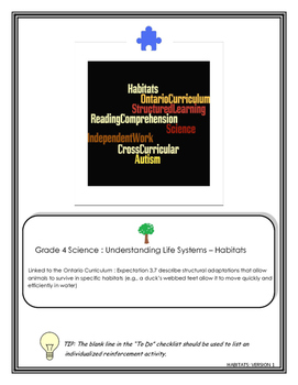 Grade 4 Science: Habitats -Reading Comprehension for Students with Autism