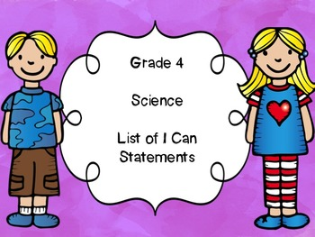 Grade 4 Science I Can Statements List